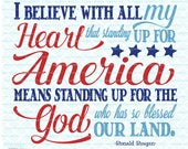 God Bless America svg Ronald Reagan Quote svg Stand Up for America svg Our Land of the Free svg dxf eps jpg files for Cricut Silhouette JB