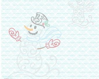 Filigree Snowman svg Flourish Snowman svg Swirly Snowman svg Damask Snowman svg Christmas svg dxf eps jpg ai files for Cricut Silhouette