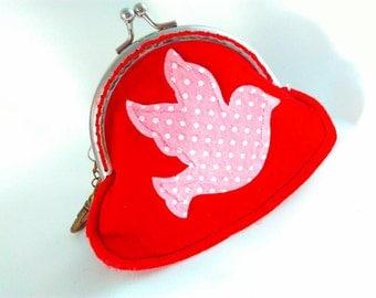 Handmade coin purse, red coin purse, handmade frame coin purse, handmade coin purse, lanyard coin purse, coin purses, applique coin purse