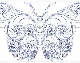 "Brassie Blue Butterfly 5""x7"" (PES File)"