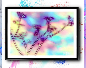 Ambrosia, Flower Painting, Abstract Flower, Abstract Floral Decor, Neon Flower Art, Watercolor Flower, Floral Home Decor