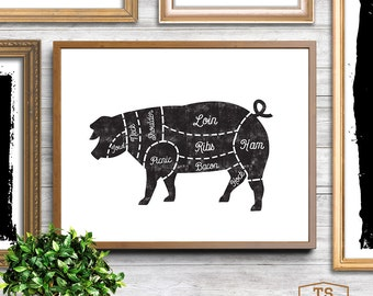 Kitchen art, butcher prints, butcher chart, meat cuts, meat, butcher, pork, pig, horizontal frame, black and white kitchen