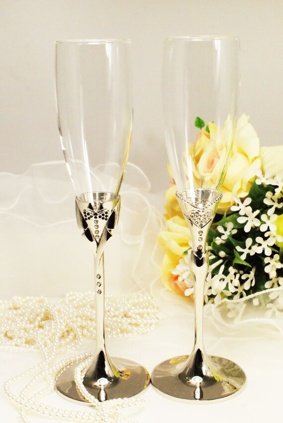 Wedding Toasting Flutes Champagne Dress Tuxcedo by ...