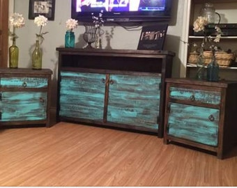 Free Shipping***Rustic distressed painted tv stand and matching end tables (whole set)