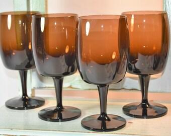 Gorham, Accent Brown, Stemware, MCM, Water Goblet, Wine Goblet, Ombre Brown, Mancave, Home Bar