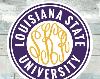 Louisiana State University Monogram Frame Cutting Files in Svg, Eps, Dxf, Png for Cricut & Silhouette | LSU Vector | Tigers Sports Graphics
