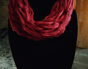 Crimson Red Infinity Scarf- Small