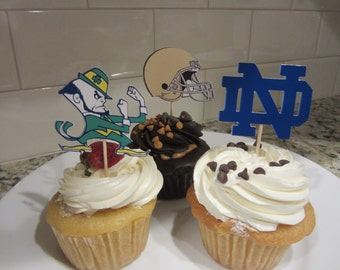 Cupcake toppers, party supplies, Notre Dame Fighting Irish, football, sports