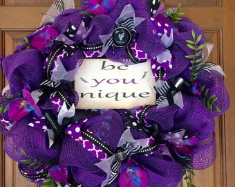 Younique Cosmetics wreath, makeup wreath, purple and black wreath, feminine wreath, beauty wreath