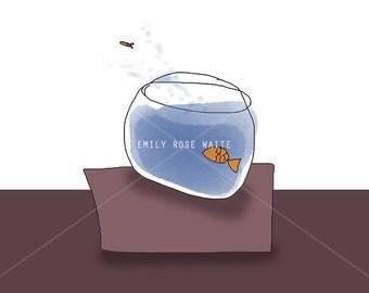 Fish Bowl - Mini Print / Postcard 6x4 Digital Illustration Art Print