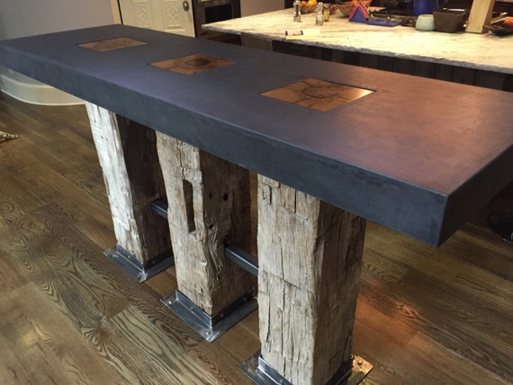 Modern Kitchen Island In Denver Concrete And Timber