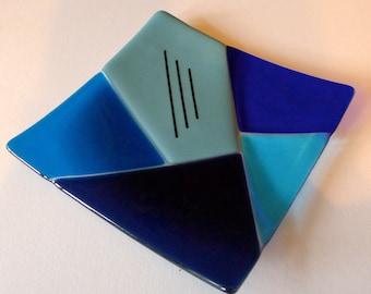Blue geometrical design fused glass platter