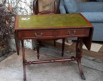 Retro Style Mahogany French Desk with Original Leather Top