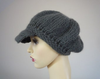 Baker boy / Newsboy style hat - hand knit in gorgeous wool/alpaca blend