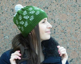 """Knitted Pompon Hat Fair Isle- """"Green"""""""