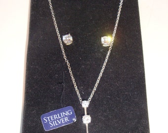 Sterling Silver .925 Drop Necklace with Pierced Earrings ~ Cubic Zirconia ~ NIB
