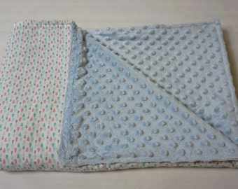 Baby Blanket / Blue Blanket/ Cotton Minky Baby Blanket For Girl Or Boy / Baby Girl Blanket / Crib Blanket / Nursery Blanket / Baby Girl Gift