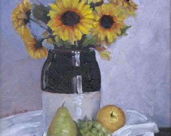 Crock With Sunflowers
