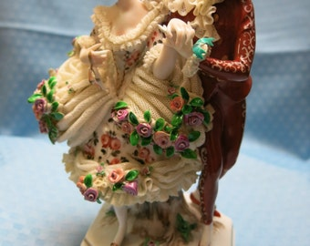Italian-Made Capodimonte Porcelain Figurine, Dresden Lace