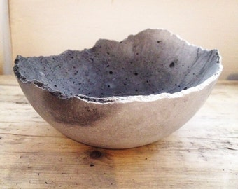Concrete Bowl - charcoal and white swirl