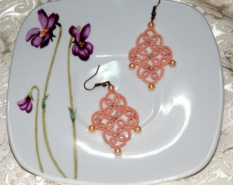 Earrings to tatting with beads