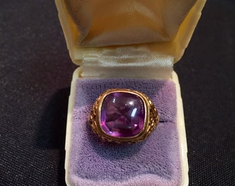 Art Nouveau 14 k gold & Amethyst Ring Sz 7 1/2