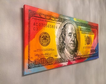 JOHN STANGO Hand Painted 100 Dollar Bill Signed Original Pop Art Painting