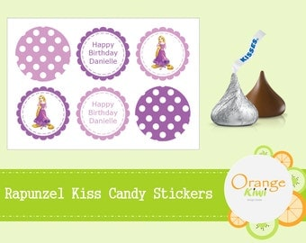 Rapunzel Tangled Birthday Party Hershey Kisses Candy Stickers