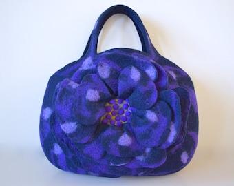 Big flower bag * dark blue & purple
