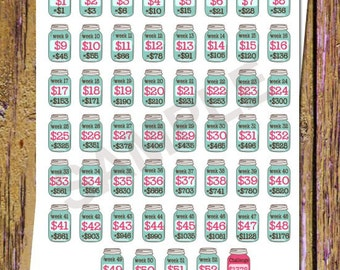 52 Week Savings Challenge Planner Stickers Savings Stickers Mason Jar Stickers Money Stickers Savings Tracker Stickers Fits ANY Planner A53