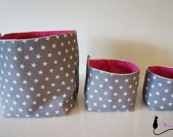 Ensemble de paniers en tissu réversibles 3 tailles