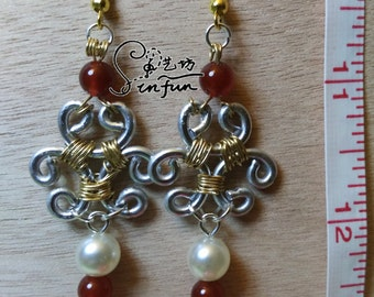 Hand-made two-tone wire work and red agate earrings