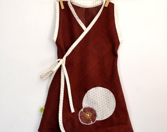 Dress bordeaux kimono and star Golden (2 years)