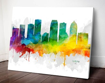 Tampa Skyline Canvas, Tampa Print, Tampa Art, Tampa Gift, Tampa Cityscape, MMR-USFLTA05C