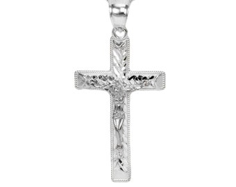 14k White Gold Crucifix Necklace Pendant