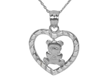 925 Sterling Silver Teddy Bear in Heart Necklace with Sterling Silver Chain, Animal Jewelry for Valentines Day, Delicate Love Jewelry
