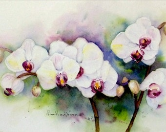 "ORIGINAL Watercolor Floral Painting-White Orchid Blossoms-Red Violet Centers-Small 7""x10"" Painting"