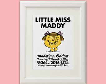 Little Miss & Mr Men // Personalised Birth Art Print // Custom Birth Announcement Nursery Art Decor (available in all characters)