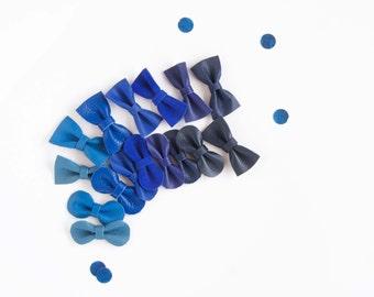 Blue Baby Bows Royal, Cobalt, Navy Blue Ombré Mini Leather Hair Bow, Crocodile Clip or Soft Nylon Headband, Newborn Headband, Baby Hair Clip