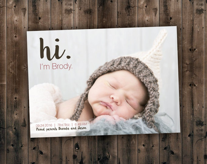 Affordable NAME BIRTH ANNOUNCEMENT - Photo Baby Announcement - Baby Girl Announcement - Baby Boy announcement - Newborn, Modern,  Printed