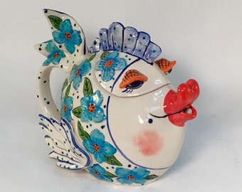 Ceramic Teapot, Hand Painted Teapot, Fish Teapot, Fish, Collectible Teapot, Hand Casted, Flower Fish, Blue Sky Clayworks