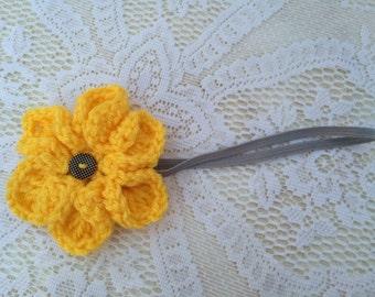 Handmade crochet flower on elastic headband