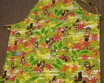 Green Hawaiian Print Apron with Hula Girl