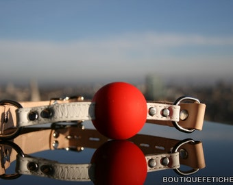 Brown and Red BDSM Ball Gag