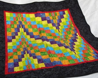 Handmade Quilt, quilted wall hanging, bargello quilt, quilted tapestry, multi-color quilt,