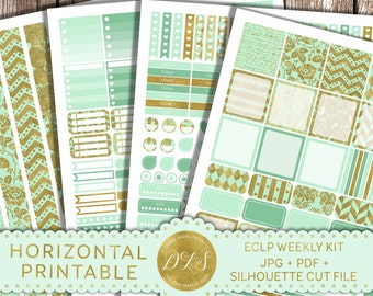 Printable HORIZONTAL Planner Stickers Mint Gold fits EC Life Planner Full Box Stickers Glam Planner Silhouette Cut File Weekly Kit HS107