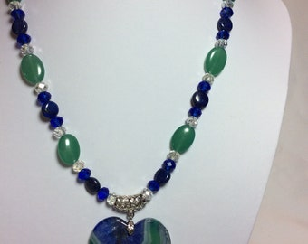 Blue and Green Agate Heart Pendant Necklace with Earrings