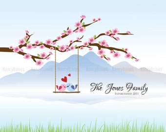 Personalized Wedding gift, keepsake, housewarming gift - Family tree wall art - Digital file