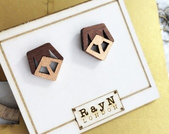 Studs / Wooden earrings / Geometrical earrings / The Shield