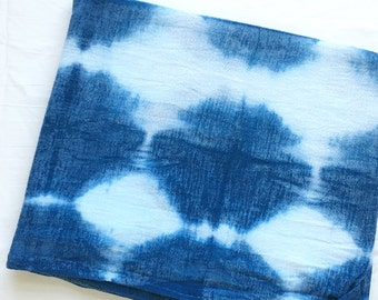 Shibori Circles Indigo Cotton Baby Swaddle Blanket